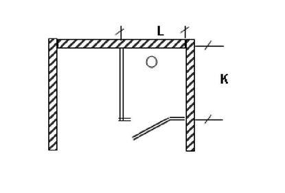 Изображение Перегородка для разделения санузлов 1-но створчатая, угловая. 900х1200х2000 мм