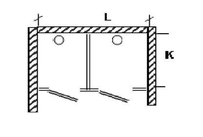 Изображение Перегородка для разделения санузлов 2-х створчатая, между стен. 1800х1200х2000 мм