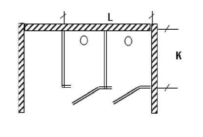Изображение Перегородка для разделения санузлов 2-х створчатая, угловая. 1800х1200х2000 мм