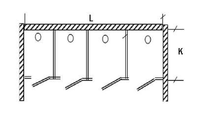 Изображение Перегородка для разделения санузлов 4-х створчатая, между стен 3600х1200х2000 мм