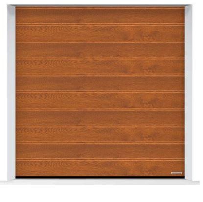 Изображение Ворота секционные LPU 42, 2500х2500, Decograin, M-гофр, Golden oak (Золотой дуб)
