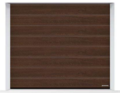 Изображение Ворота секционные LPU 42, 2500х2125, Decograin Dark oak, M-гофр