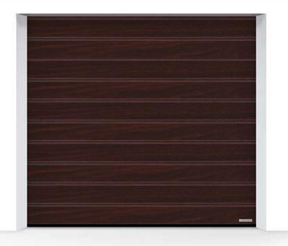 Изображение Ворота секционные LPU 42, 2750х2500, Decograin Rosewood oak, M-гофр