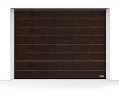 Изображение Ворота секционные LPU 42, 3000х2250, Decograin Night oak, M-гофр