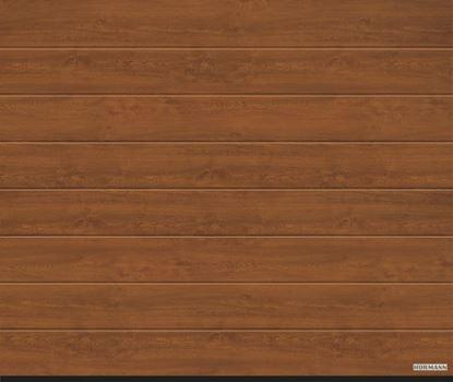 Изображение Ворота секционные LPU 42, 2440х2080 мм, DecoColor M-гофр цвет Golden oak (Золотой дуб)