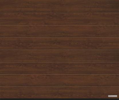 Изображение Ворота секционные LPU 42, 2440х2080 мм, DecoColor M-гофр цвет Dark oak (Темный дуб)