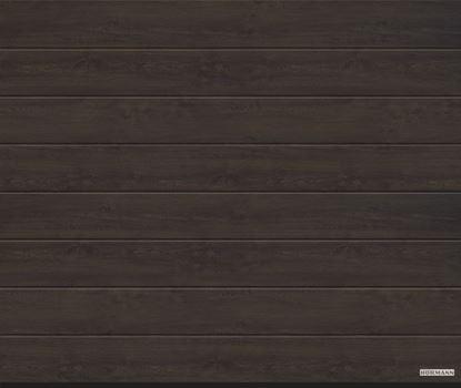 Изображение Ворота секционные LPU 42, 2440х2080 мм, DecoColor M-гофр цвет Night oak (ночной дуб)