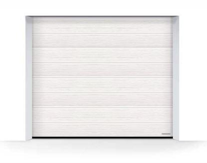 Изображение Ворота секционные LPU 42  2500x2125 мм Slategrain М-гофр цвет 9016 (белый)